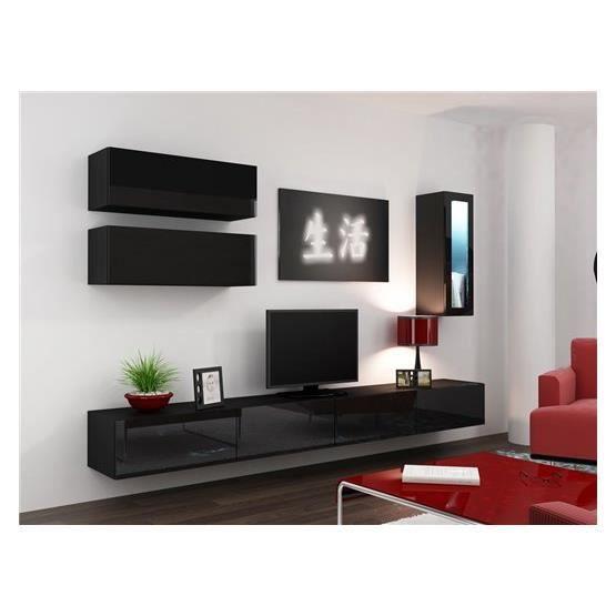 Meuble tv design suspendu BINI noir Achat Vente meuble tv Meuble
