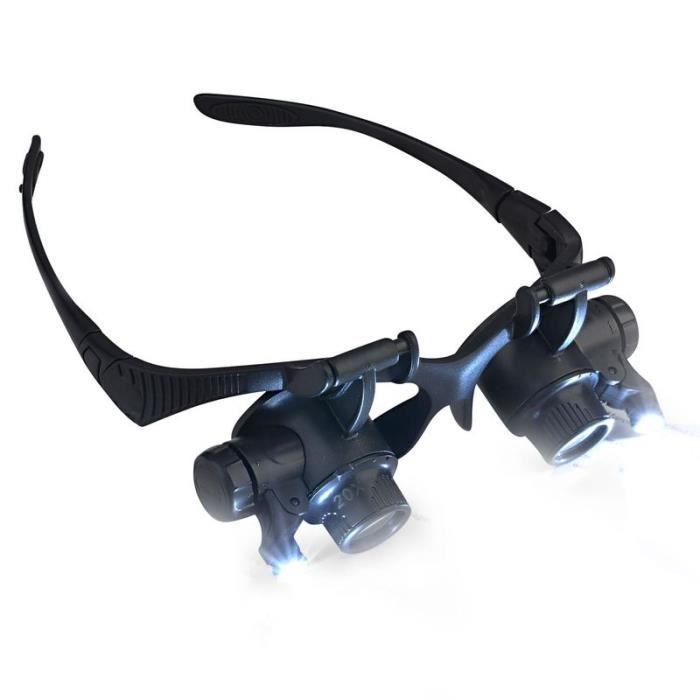 insten lunettes loupe de poche grossissement x10 x20 avec lampe lumi re clairage led pour. Black Bedroom Furniture Sets. Home Design Ideas