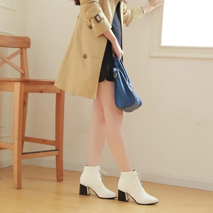 bottes courtes-Pure Color talon carrPointu lacets Bottines pour femme XBI7tmE