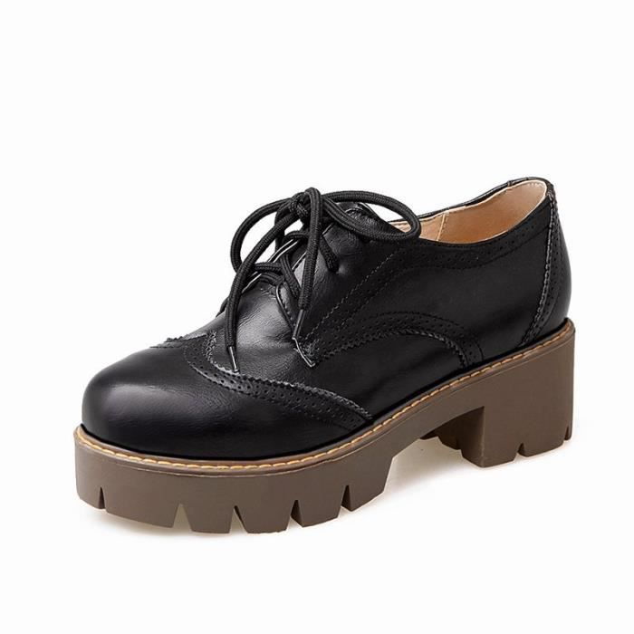 Chaussures Femme Ronde Plateforme élégante En PU Cuir Toutes les pointures de la 35 à la 43