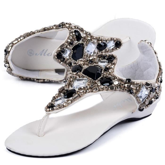 Sandales femmes plat bohèmes perles de pierres précieuses