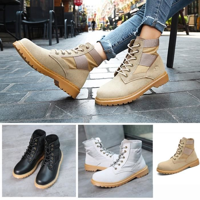 Botte Femme femmes Tendance Fashion High Top Roung Toes Skater Martinblanc taille37