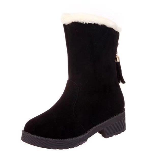 bottes de neige plus courte peluche pour les femmes bottes à talons bas garder les bottes chaudes