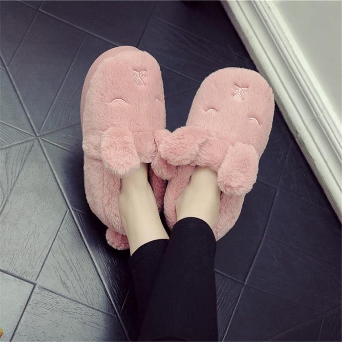 dessin animé chausson mignonne femme cartoon chaussons femmes tendance Chaud Velours et chaussures Confortable pantoufles Hiver