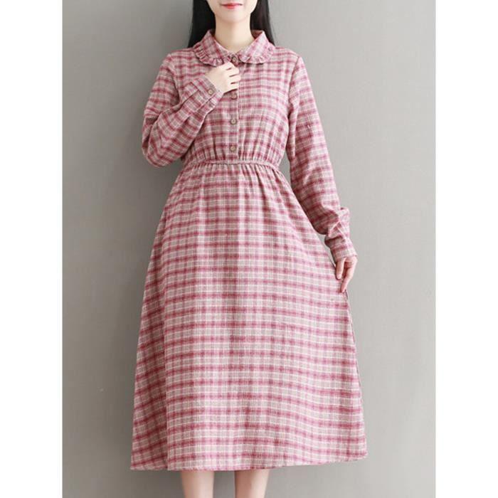 motif à carreaux robe des femmes bouton décoration col claudine manches longues robe midi