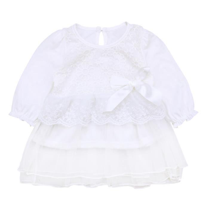 51b5843eaeeff 0-24 Mois Bébé Fille Robe Blanc en Dentelle Mousseline de Soie Manches  Longues Vêtement Été