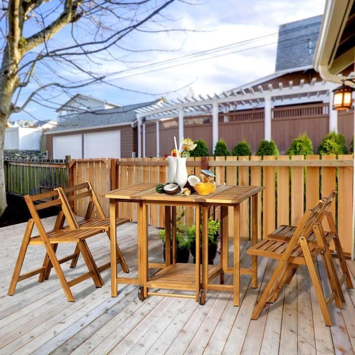 Salon de jardin Hendaye en bois d\'Acacia Table pliante et 4 chaises -  couleur naturelle