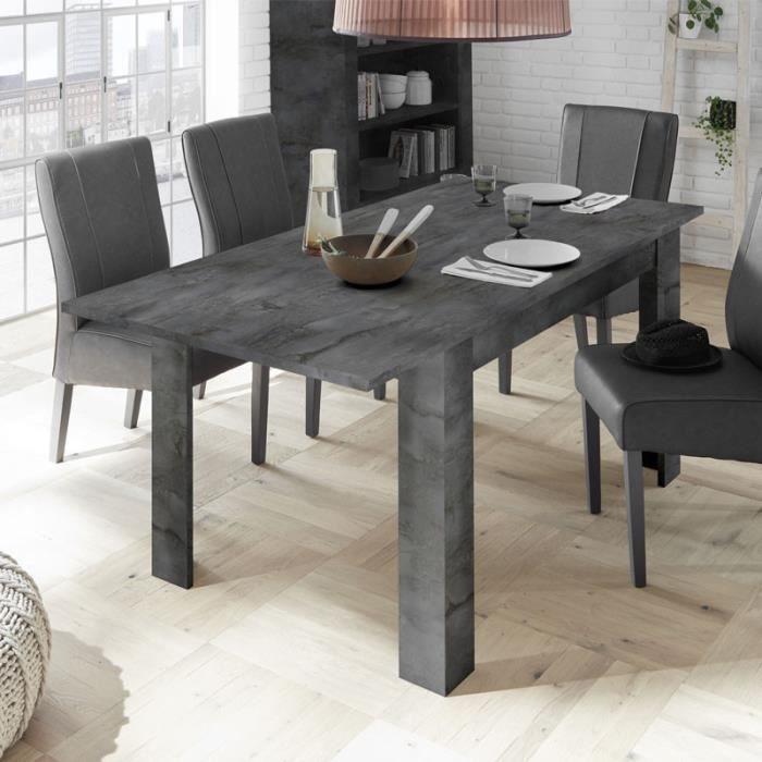 TABLE À MANGER SEULE Table de repas à allonge Béton ciré foncé - LUBIO