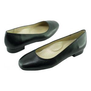 Squint Alarm Free – Ballerine bout carré à petit talon chaussure Femme Les Escarpins d'Hôtesses cuir noir 8ZZaM