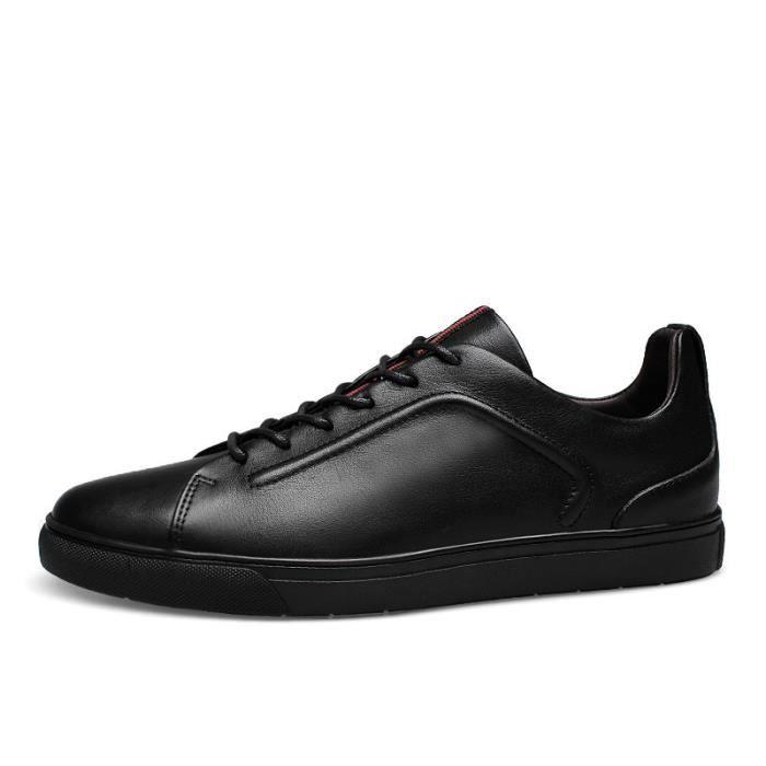 JOZSI Chaussures Hommes Cuir été hiver Respirant chaussures Homme ZX-XZ206Noir37