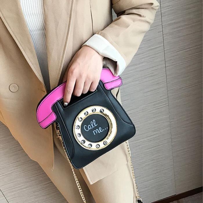 Telephone D'epaule Bandouliere Femmes A En Rose Cuir Retro Sac noir De Sacs Pu Main Pour Les Forme CU6Twt6xq8