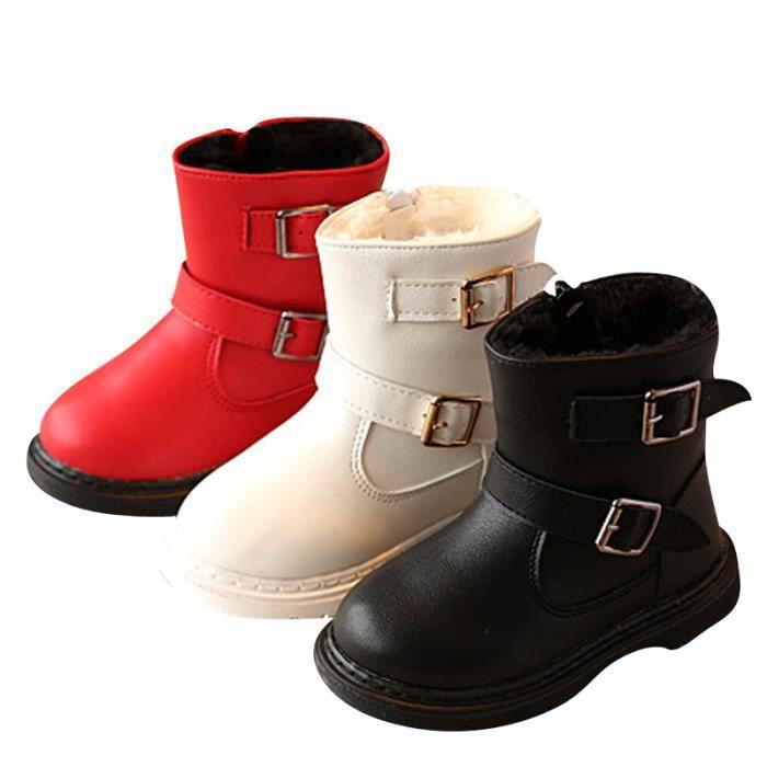 D'hiver Bottes Cuir Enfants Nouveaux Mode Bottines Fille BLLT-XZ104Rouge22 aV6IF0U2