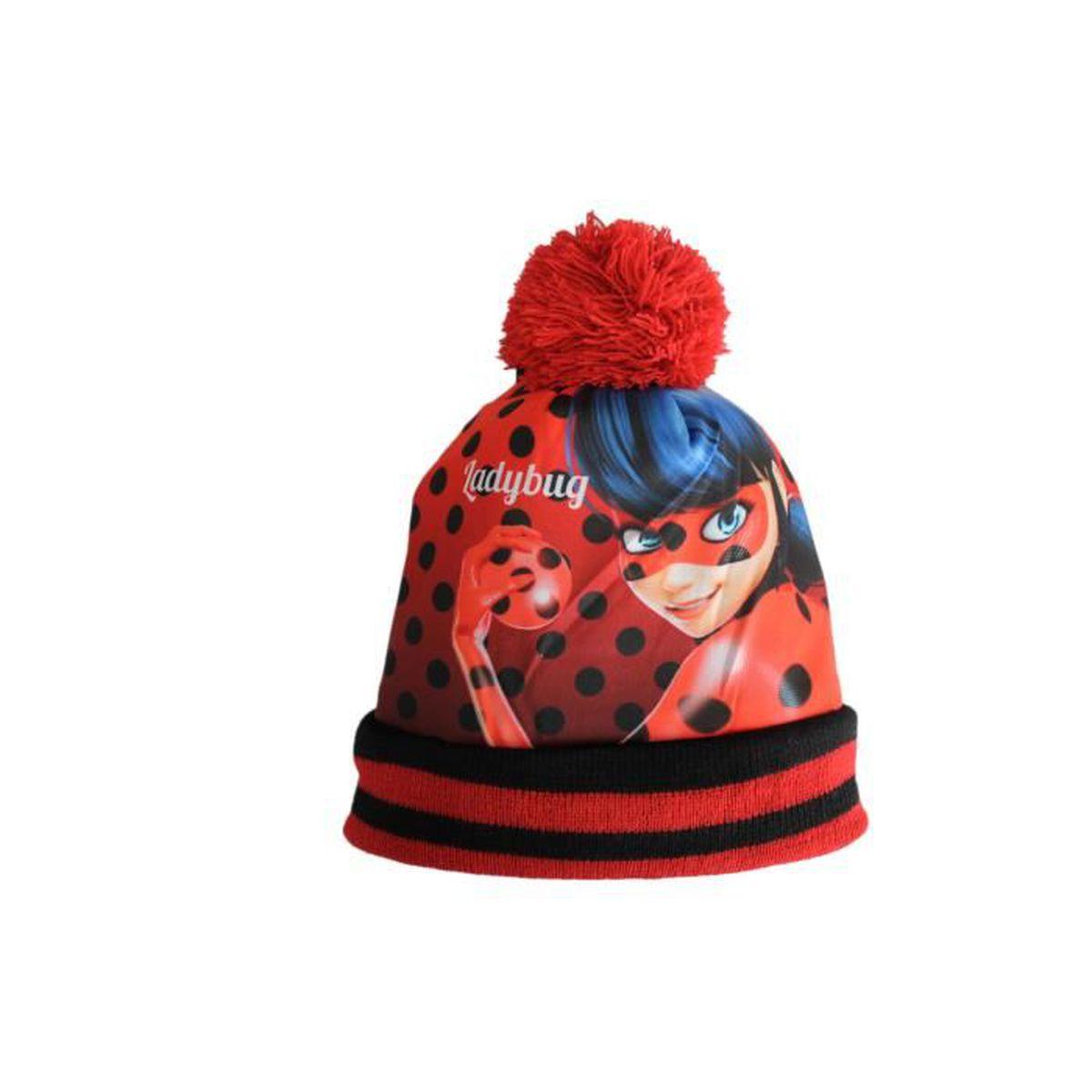 Ensemble bonnet et gants miraculous ladybug avec pompon rouge Rouge ... 1c1b2eea77b