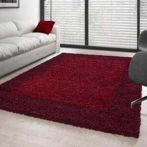 TAPIS Tapis Shaggy pile longue designe 2 couleur ROUGE-B