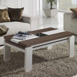 Table Basse Relevable Blanche Et Grise Moderne Correze 3 100 Cm