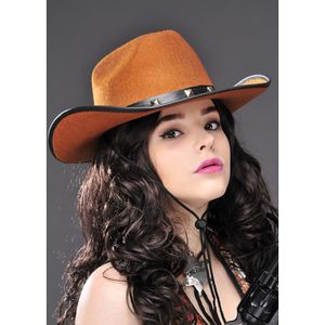 948e78b2b3a69 Brown Super Deluxe Faux Suede Country Western Cowboy Hat Fancy Dress ...