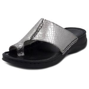TONG Tongs pour femme, cuir gris métallisé, GREENHILL
