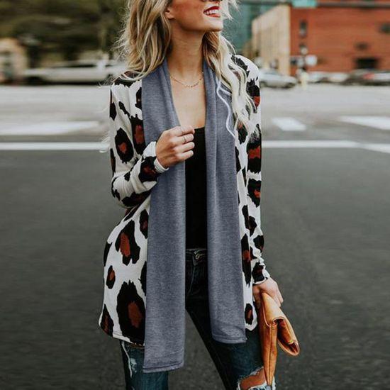 Leopard Manteau Outwear De Casual blanc Veste Avant Manches Ouvert Animaux Femmes Longues HdTxq11