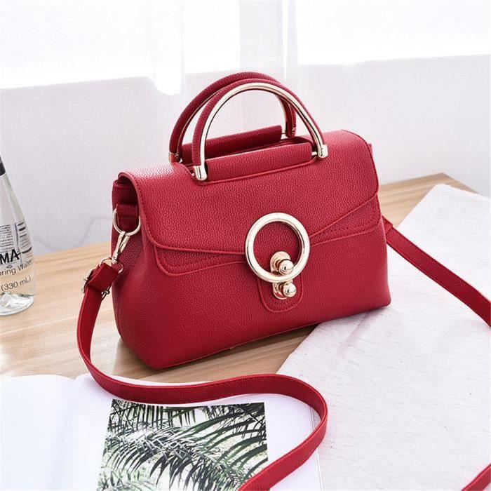 c32e37061cd73 sac a main femme cuir de luxe mode Petit Sac bandouliere rouge-BCHT-b101