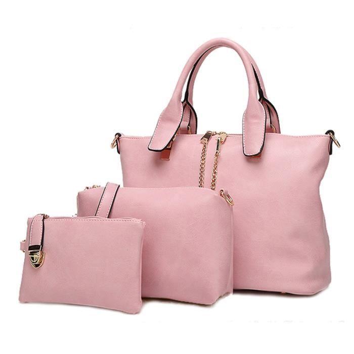 sac à main3 Pièces Uniques Ensemble Femmes Casual Bureau Lady Sac fourre-tout de haute qualité en cuir PU femmes -2709