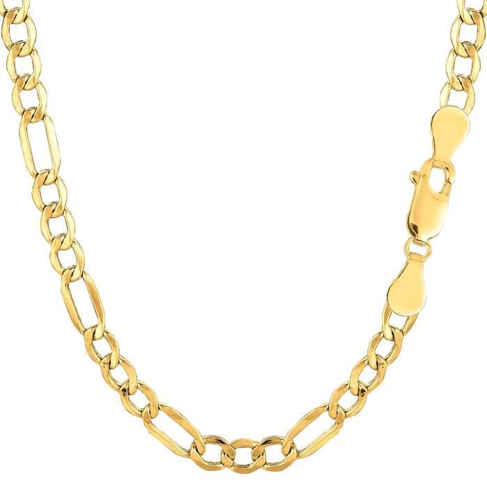 Collier- 10 k jaune or creux Figaro, 4,6 mm, 20