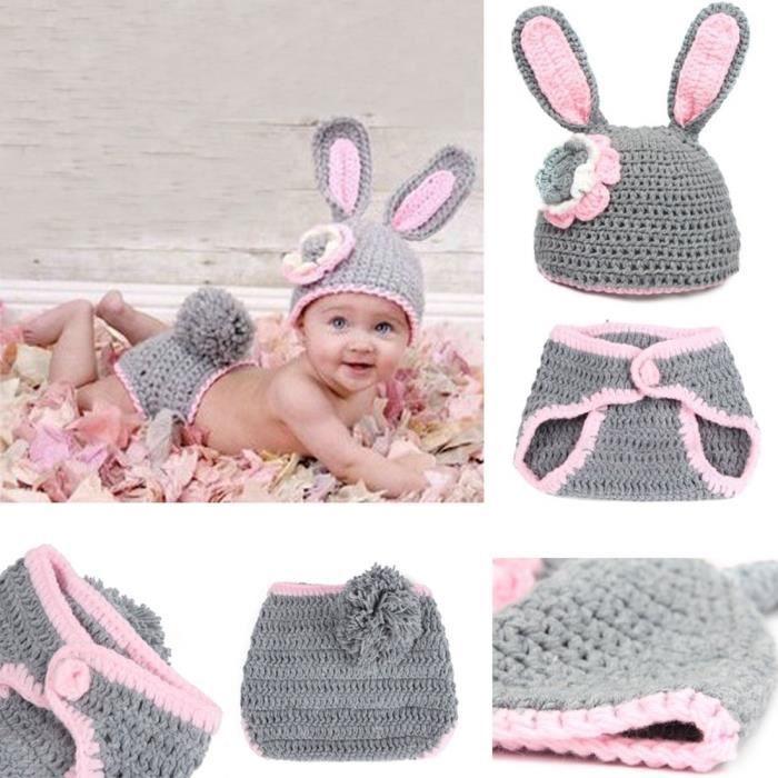 c9fa419a4b8b Bébé Enfant Chapeau Bonnet Crochet Tricot Animal Déguisements Photo Cadeau  Lapin Gris