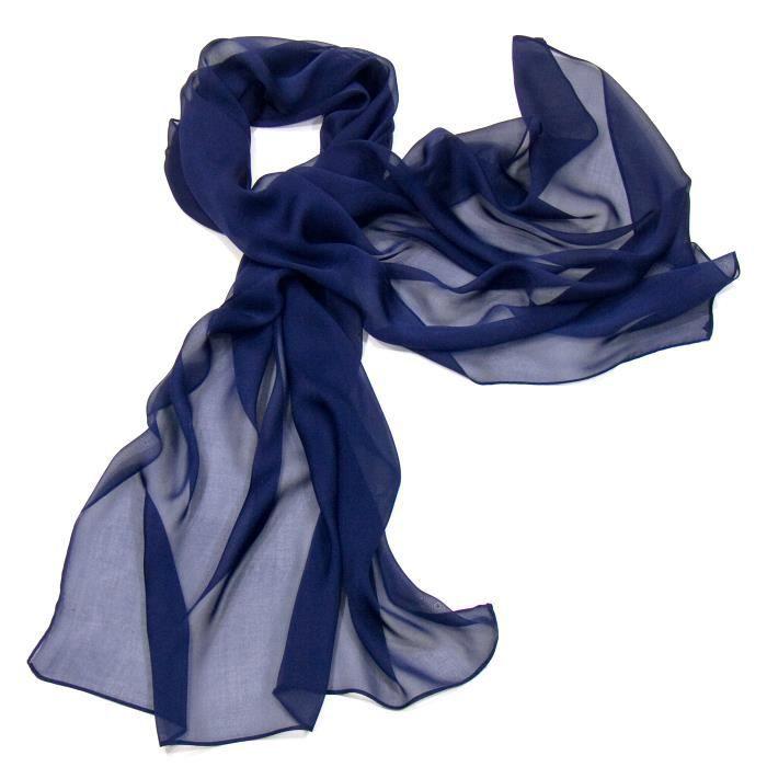 0fbc6788de2 Etole bleu marine mousseline de soie - Achat   Vente echarpe ...
