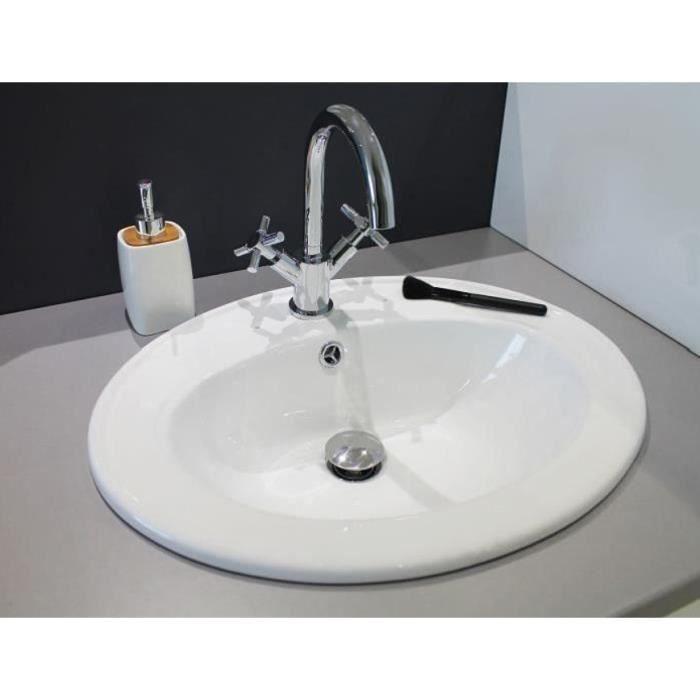 Vasque Céramique Ovale à Encastrer Sita 45 Blanc Achat Vente