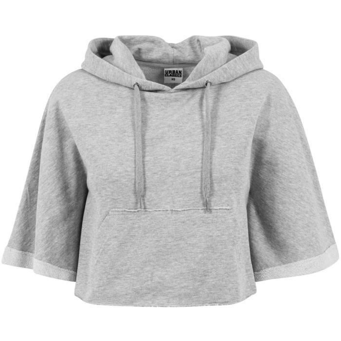 Urban Classics Femme Cropped Hooded Poncho Gris Gris Achat