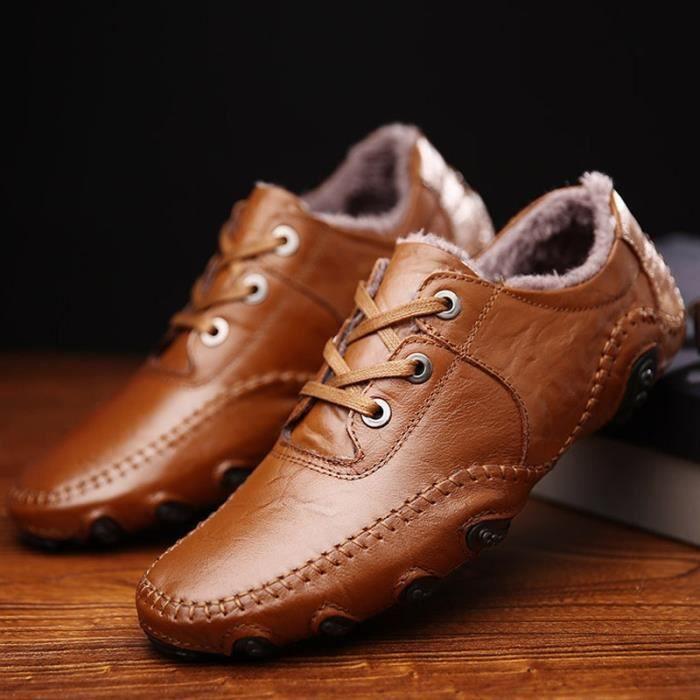 multisport marron chaud lacets occasionnels à cuir Shoes conduite chaussures taille38 de Homme Vintage d'hiver en d'homme RdERq6