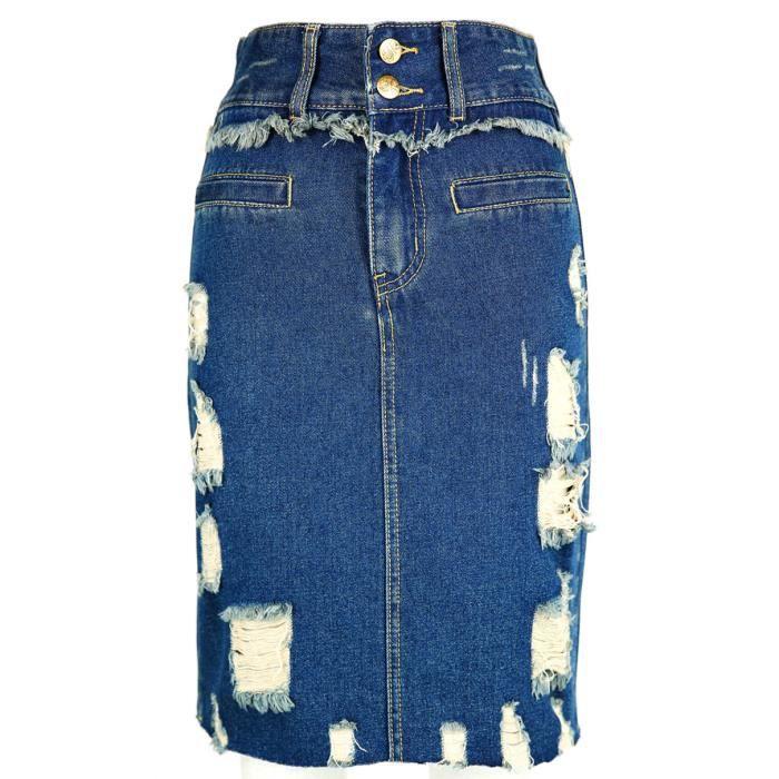 3cb035970368b3 Femmes Mini Jupe en Jeans Paquet Hanche Taille Haute Denim Robe avec Bouton  Trou Déchirés