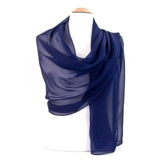 3d06b792e2f Etole bleu marine mousseline de soie - Achat   Vente echarpe - foulard  2009871629677 - French Days dès le 26 avril ! Cdiscount