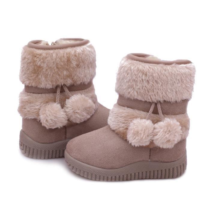 Hiver Bottes Enfants En Peluche Chaussures Filles Garçon Bottines ZX-XZ095Beige21 Nbtp8vMdeS