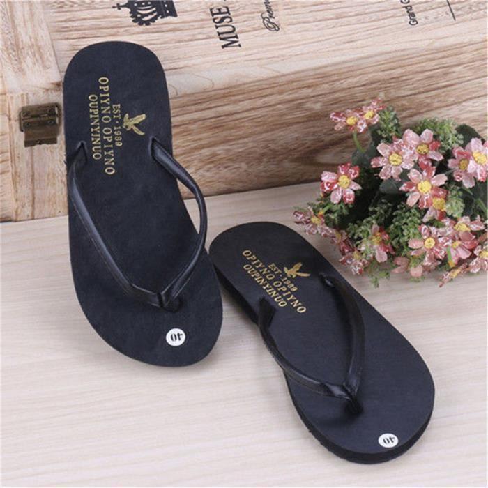 pantoufle été Poids Léger tongs sandales homme marque Antidérapant chaussures plage chaussure homme tendance G dssx105noir42