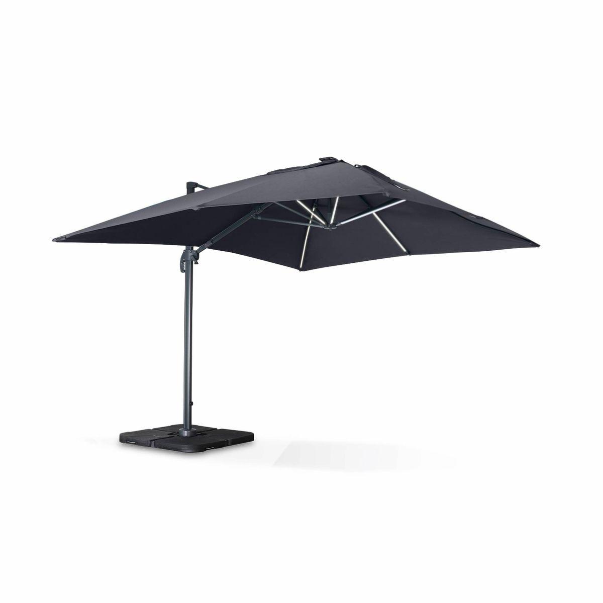 Luce 3x4m Déporté Led Achat Gris Parasol Vente Avec 1cFlKJ