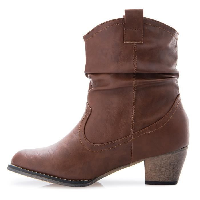 Western Cowgirl Vintage Mid Calf Slouchy Almond Toe Pointy Ankle Bootie Boots RS50P Taille-40 vQo35ST