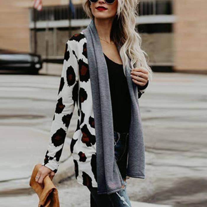 De Avant Manches Animaux Ouvert Longues blanc Outwear Femmes Veste Manteau Leopard Casual IwXfqxgO