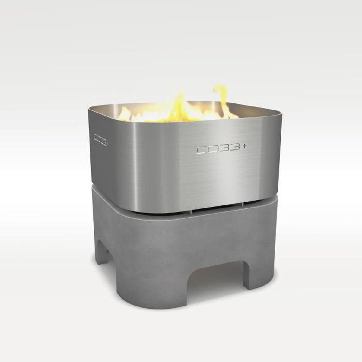 brasero en béton et l'acier inox avec grill - achat / vente barbecue