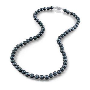 SAUTOIR ET COLLIER Collier de perles de culture Akoya en or noir 14 c