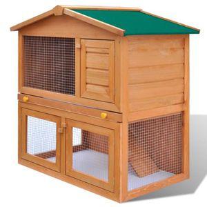 CLAPIER Cage Clapier Extérieur en Bois pour Lapins 3 Porte