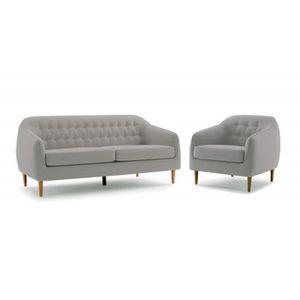 FAUTEUIL Ensemble Canapé 3 places et fauteuil tissu gris cl