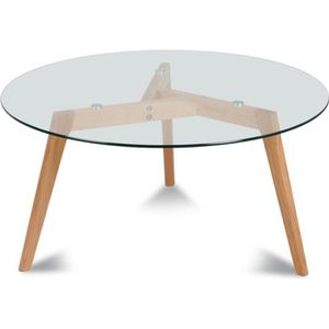 table basse verre ronde bois achat vente pas cher. Black Bedroom Furniture Sets. Home Design Ideas
