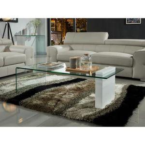 TABLE BASSE Table basse MANDY - Verre trempé & MDF laqué blanc