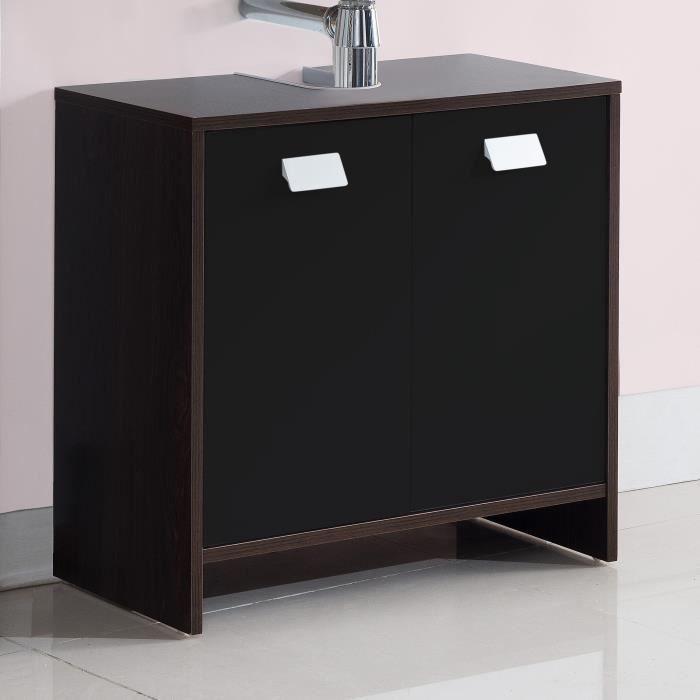 Top Meuble Sous Vasque L 60 Cm Decor Wenge Et Noir Mat Achat