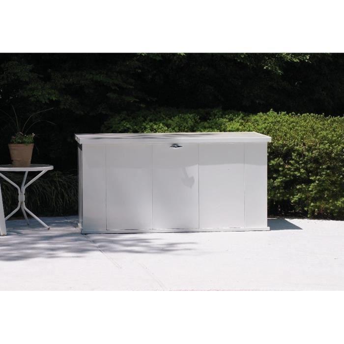 Coffre de rangement pour le jardin en métal blanc d'une contenance de 595LCOFFRE D'EXTERIEUR - RANGEMENT D'EXTERIEUR