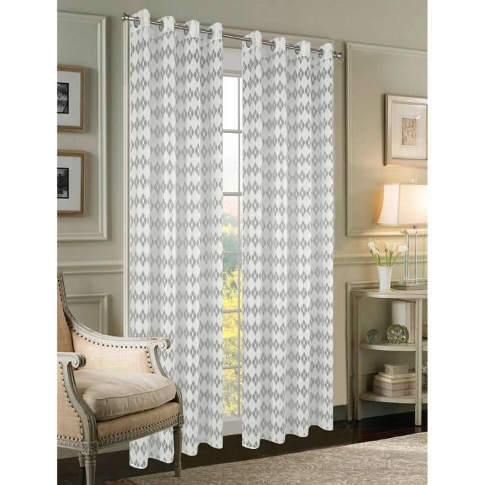 Double rideaux blanc hauteur 240 - Achat / Vente pas cher
