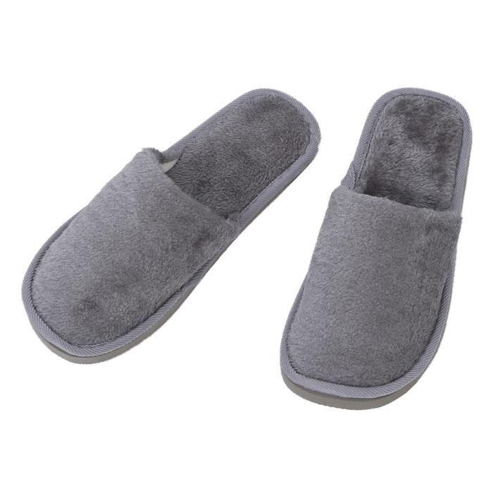 Homme Gris Polaires Maison Doux hiver chaussons chauds UK 8.5 pour les pieds Longueur 27 cm wTUSaw