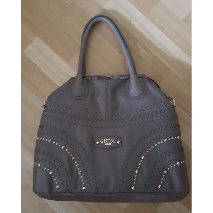 Sac à Main GUESS Collection Marron/Taupe Occasion Solde Moderne Picot Or