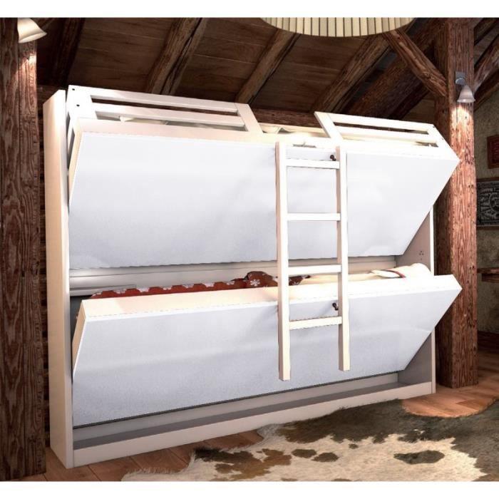 lit escamotable armoire lits superposs jacquelin coloris gris - Lit Rabattable Pas Cher