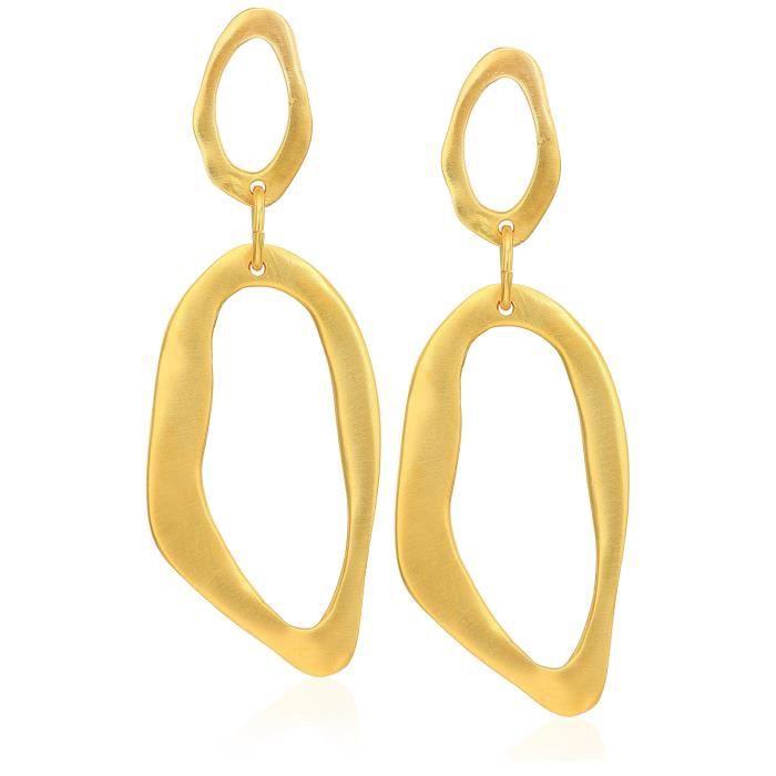 Kenneth Jay Lane Satin Gold Open Drop Earrings Z6EUF